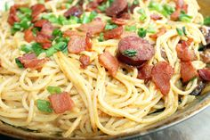 """Creole Carbonara- (Italian Carbonara-""""Creolized"""". Traditional Carbonara would include egg, Creole Carbonara replaces the egg, which gives this dish a great richness, with sharp cheddar cheese.  (Great for a party or crowd because it goes far)"""