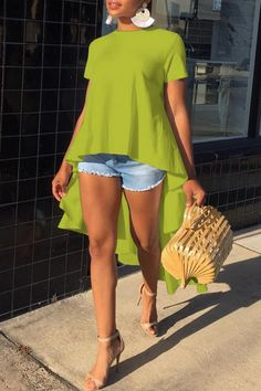 Fashion Pure Color Irregular Short Sleeved T-Shirt – Ratecuteshop Look Fashion, Womens Fashion, Fashion Trends, Looks Chic, Green Blouse, African Dress, Short Sleeve Blouse, African Fashion, Casual Wear
