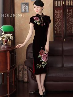 I like this. Do you think I should buy it? -- Vintage Embroidery Formal dress Mother Quilted cheongsam Long Cheongsams Dresses. Online shopping for Long Cheongsams Dresses, Buy at holoong.com on sale!