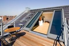 Individual sliding roof windows offer first-class and bright living comfort in the attic. The multi-part windows can be opened by hand or motor. Attic Loft, Loft Room, Attic Rooms, Attic Spaces, Attic Renovation, Attic Remodel, Roof Extension, Roof Window, Attic Conversion