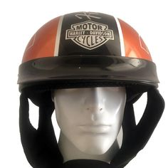 Harley Davidson Women Helmet | Half Helmet With Skull Airbrush and Glossy Color #Unbranded #Motorcycle Harley Davidson Helmets, Motor Harley Davidson Cycles, Motorcycle Helmets, Riding Helmets, Half Helmets, Custom Airbrushing, Skull, Orange, Color