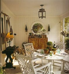 Charming dining porch of David Easton's house, Balderbrae, in Suffern, New York.