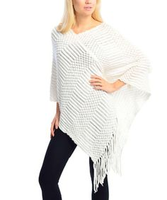 Loving this White Geo Knit Fringe Poncho on #zulily! #zulilyfinds