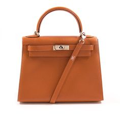 Hermès Kelly 28 Sellier Orange Chevre Mysore Hermes Kelly Bag ab5981bcbd86d