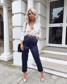 when we say work-week chic 💫 in the Alyssia white striped button-up top & My Story navy satin trousers tap to shop! Blue Trousers Outfit, Navy Blue Dress Pants, Trouser Outfits, Trouser Pants, Casual Outfits, Cute Outfits, Navy Blue Uniform, Fashion Mode, Fashion Clothes