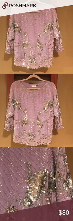 Nieman Marcus ladies Vintage Sequins Top Neiman Marcus Silk/ Sequins Top in EXCELLENT CONDITION This top is stunning in person Picturea don't do it justice Can be dressed up with a long black tulle skirt or dressed down with a pair of Dark Jeans 👖 it's absolutely gorgeous!!! Neiman Marcus Tops Blouses