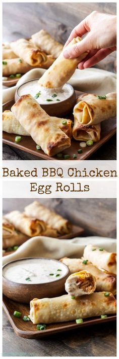 Baked BBQ Chicken Egg Rolls with BBQ Ranch Dipping Sauce Stuffed with shredded BBQ chicken and cheese, these egg rolls will become your new favorite appetizer! Chicken Egg Rolls, Chicken Eggs, Baked Chicken, Taco Egg Rolls, Stuffed Chicken, Grilled Chicken, Ranch Recipe, Shredded Bbq Chicken, Salads