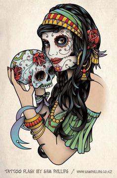 Dessin tatouage femme pirate et crâne à la main couleurs