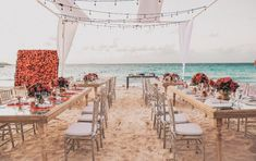 Casar Em Cancún: Inspire-se Com o Destination De Daniela E Almir - IC Cancun Wedding, Destination Wedding, Wedding Set Up, Spa, Table Decorations, Sands, Beach, Flowers, Dreams