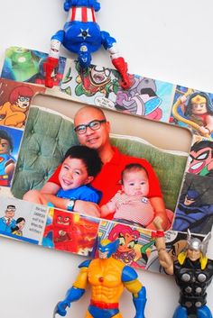 Super Hero Comic Book Picture Frame- Such a cute idea for kids to make for Father's Day!