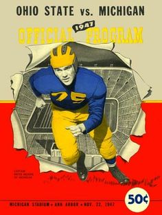 1947 Ohio State vs Michigan Vintage Look Reproduction Metal Sign >>> Learn more by visiting the image link. Michigan Wolverines Football, Ohio State Vs Michigan, University Of Michigan, Ohio State Buckeyes, Michigan Gear, College Football Teams, Football Program, Detroit Sports, Detroit Tigers