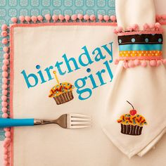 DIY: Birthday girl Placemat and Napkin.