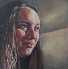 "Self portrait - Kristin Rawcliffe - oil on canvas. 12"" square www.pastelesta.co.uk"