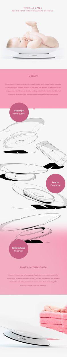 Terraillon Baby Scale + App by Peter Braakhuis, via Design design industrial design Presentation Board Design, Graphic Design Brochure, Working Drawing, Id Design, Industrial Design, Modern Industrial, Design Process, Design Inspiration, Scale