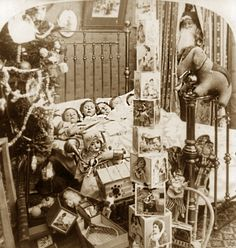 1898...love the old stacking blocks....love the dolls...and the peeking Santa....