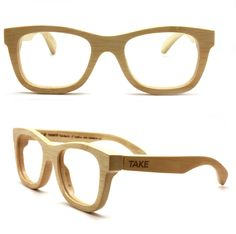handmade bamboo natural yellow eyeglasses glasses by TAKEMOTO