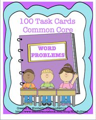 Word Problems! Fun and Challenging! - 100 Word Problems! Fun and challenging! Colorful clipart! Great for centers!.  A GIVEAWAY promotion for Math Task Cards! 100 word problems! Common Core! from Kimberly Sullivan on TeachersNotebook.com (ends on 3-30-2015)