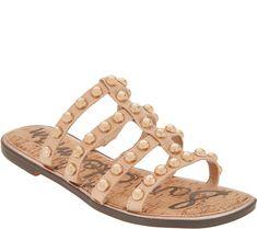 39035e0d2 Sam Edelman Studded Leather Slide Sandal - Glenn — QVC.com Studded Sandals