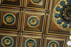 The coffered ceiling of high-grade larch and spruce wood is decorated with gold-leaf rosettes, at the Council Chamber in the Rathaus Home Ceiling, Ceiling Tiles, Ceiling Decor, Ceiling Painting, Wooden Ceiling Design, Wooden Ceilings, Coffered Ceilings, Roof Design, Exterior Design