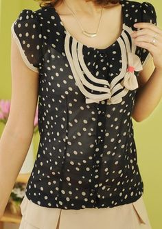 #SheInside Navy Vintage Round Neck Short Sleeve Polka Dot Bow Ruffles Chiffon Shirt