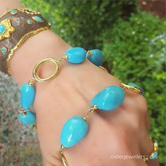 Rudolf Friedmann - Turquoise & Gold Oval Link Necklace   Oster Jewelers