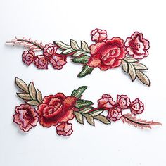 1 Pair Rose Flower w/Green Leaves Embroidery Iron/Sew on Applique Patch Badge