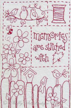 8 Simply Adorable Redwork Patterns Redwork is not a new concept in the embroidery world by any means, but it still holds true to its simple beauty. If you are a fan of redwork, then check out these 8 simply adorable patterns we fou… Vintage Embroidery, Embroidery Applique, Cross Stitch Embroidery, Machine Embroidery, Embroidery Designs, Embroidery Sampler, Red Work Embroidery, Hand Embroidery Patterns Free, Modern Embroidery