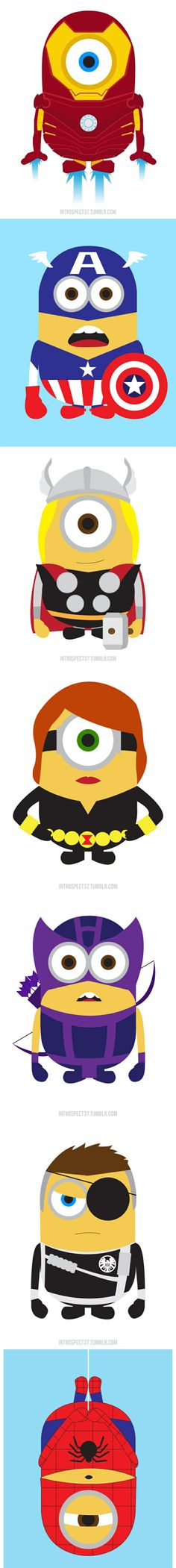 """Despicable Me"" Minions As Marvel Superheroes The minions of the movie ""Despicable Me"" in their new alternate heroic adventures. By Kevin Magic Lam."