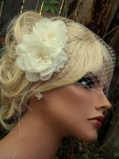 Chiffon double flower bridal fascinator and by kathyjohnson3, $68.00