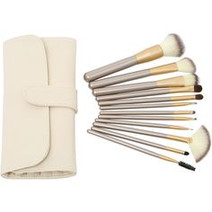 12PCS Make Up Bush Set With Bag - Beige (46 RON) ❤ liked on Polyvore featuring beauty products, makeup, makeup tools, makeup brushes, beauty, fillers, cosmetics, other and beige