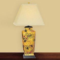 JB Hirsch J15335 Majestic Palm Leaf Porcelain Table Lamp
