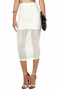 ROMWE   ROMWE Transparent Striped Lined White Skirt, The Latest Street Fashion