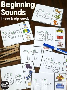 These beginning sounds clip cards are an easy way to practice letter recognition, handwriting, and letter sounds all at the same time! Looking for more clip cards? Check out all our free Phonics Clip Cards! *This post contains affiliate links. Preschool Letters, Kindergarten Literacy, Learning Letters, Preschool Learning, Learning Activities, Kindergarten Language Arts, Teaching Resources, Letter Sound Activities, Phonics Activities