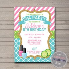 Welcome to Carousel Printables!  This listing is for a PRINTABLE digital 5 x7 inch birthday party invitation that will be EMAILED to you. You