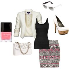 blazer and cute printed skirt!, created by paulette-lanni on Polyvore