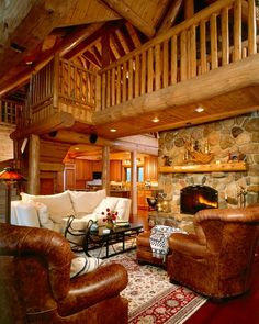 Rocky Point - Custom Cedar Log Homes, Luxury Cottage Floor Plans, Architectural Design Services – Town & Countr - Log Cabin Living, Log Cabin Homes, Cozy Living Rooms, Log Cabins, Mountain Cabins, Living Area, Feng Shui, Log Home Interiors, Cottage Floor Plans