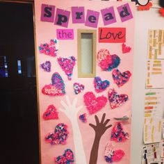 Valentine's Day door decoration! Has a little  Black History Month theme thrown in there too :)