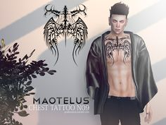 Sims 4 CC's - The Best: Maotelus Chest Tattoo by Pralinesims