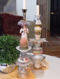 old trinkets to candleholders