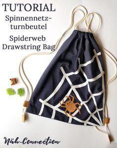 Nähanleitung: Spinnenetz - Turnbeutel (für Halloween) / sew a Spiderweb Drawstring Backpack (for halloween treats)