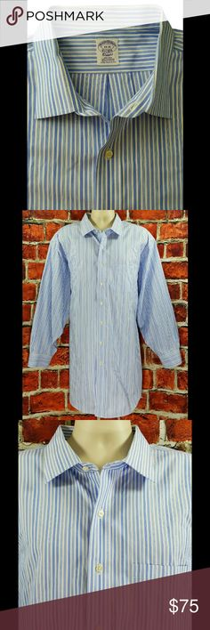 Brooks Brothers Big & Tall Dress Shirt 3XL 19-35 Brooks Brothers Classic Fit Non Iron Supima Cotton Dress Shirt Size: 3XL 19-35  About this item:  Excellent to Mint Condition 100% American Supima Cotton Classic Fit Non-Iron Blue & White Striped  Size: 19-35 Across Chest: 30.5 Length: 36 Sleeve: 24.25 Brooks Brothers Shirts Dress Shirts