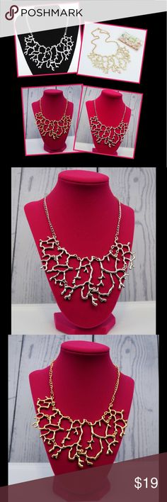 """Silver or Gold Coral Statement Necklace Make an elegant statement in our coral statement necklace. Available in silver or gold color. 11"""" drop. Lobster closure. FREE SHIPPING on this item! Simply make an offer for $7 less than listed price to offset shipping charge and I will accept! The Maximalist Boutique Jewelry"""