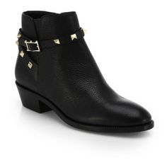 Valentino Rockstud Pebbled Leather Biker Ankle Boots ($1,295) ❤ liked on Polyvore featuring shoes, boots, ankle booties, ankle-boots, black, ankle boots, black booties, strappy booties, black studded booties and stacked heel booties