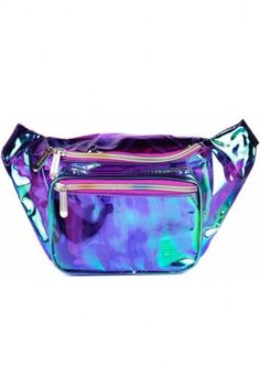 Get down with this purple holographic festival fanny. The perfect iridescent and holographic color combo is just the right amount of holographic an metallic mixed together. Money Belt, Cute Fanny Pack, Cute Backpacks, Rave Outfits, Kids Outfits, Pouch Bag, Holographic, Pu Leather, Purses And Bags