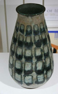 """Ceramics exhibition: """"Resurfaced, Reformed: Evolution in Studio Ceramics"""" opening August 19, 2014. Members event August 28, 2014 at Tweed Museum 6-9pm. Credits for the works: Glenn C Nelson (American, 1913-2010) Untitled (vase with incised pattern) Stoneware Collection of the Tweed Museum of Art University of Minnesota Duluth Gift of the Estate of J. Dorrance Kiser D2000.mac3"""