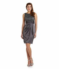 Adrianna Papell FloralLace and Satin Dress #DillardsDress  Suggestion for the Godmothers