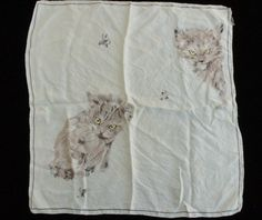 Vintage Pale Blue Silk Scarf With Cats by SycamoreVintage on Etsy, $24.99