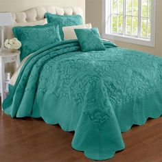 Amazon.com - Brylanehome Amelia Bedspread (Turquoise, Twin) - (480 DKK) ❤ liked on Polyvore featuring home, bed & bath, bedding, bedspreads, twin bedding, turquoise bedding, turquoise bedspread, twin bedspreads and twin bed linens
