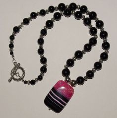 Beautiful Handmade Black Necklace Magenta by EASTandWESTJewelry, $24.95