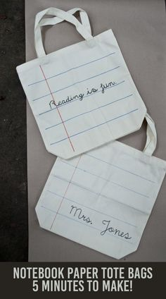 Easy Notebook Paper Totes! - Great for teacher gifts!